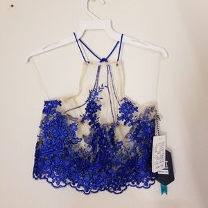 NWT Blue Lace Halter Crop Top